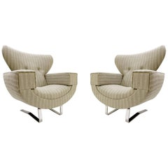 Pair of Large Armchairs with Chrome Legs, 1970s