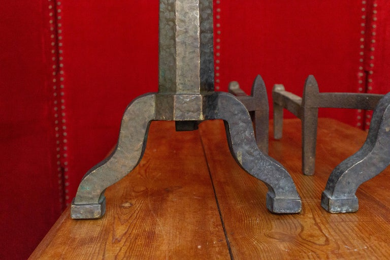 Patinated Pair of Large Art Deco Andirons For Sale