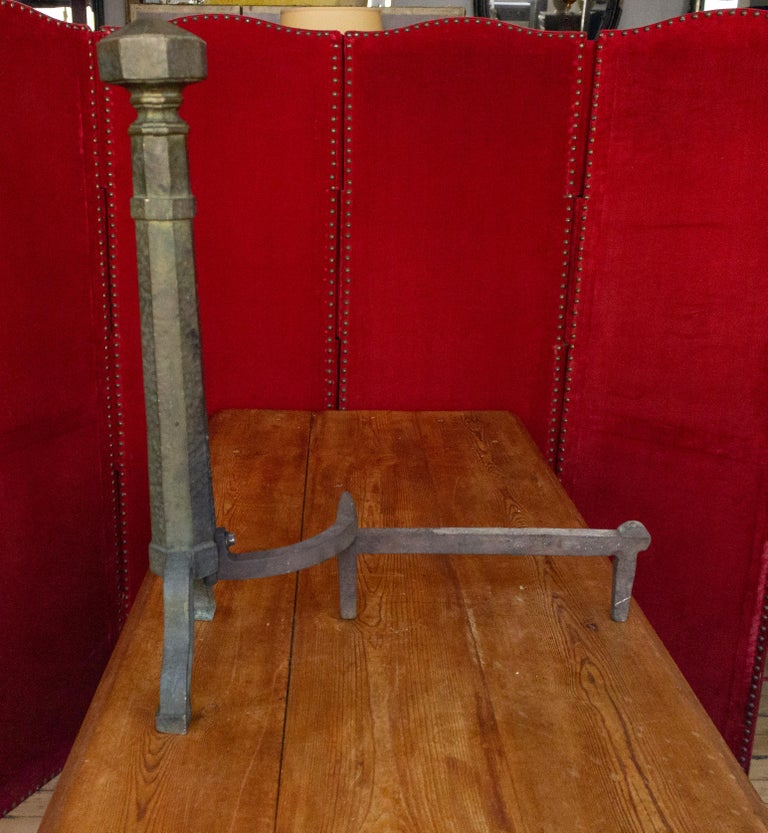 Pair of Large Art Deco Andirons For Sale 2