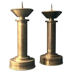 Pair of Large Art Deco Brass Candlesticks, Germany, Early to Mid-20th Century