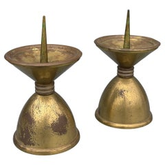 Pair of Large Art Deco Bronze and Brass Candle Holders, France, 1930's