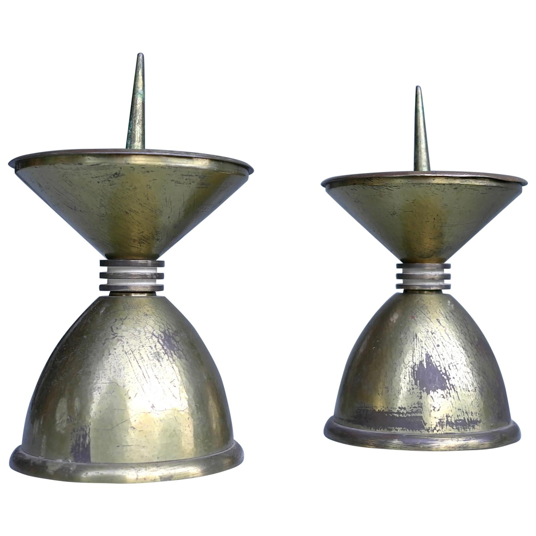 Pair of Large Art Deco Bronze and Brass Candlesticks, France, 1930s