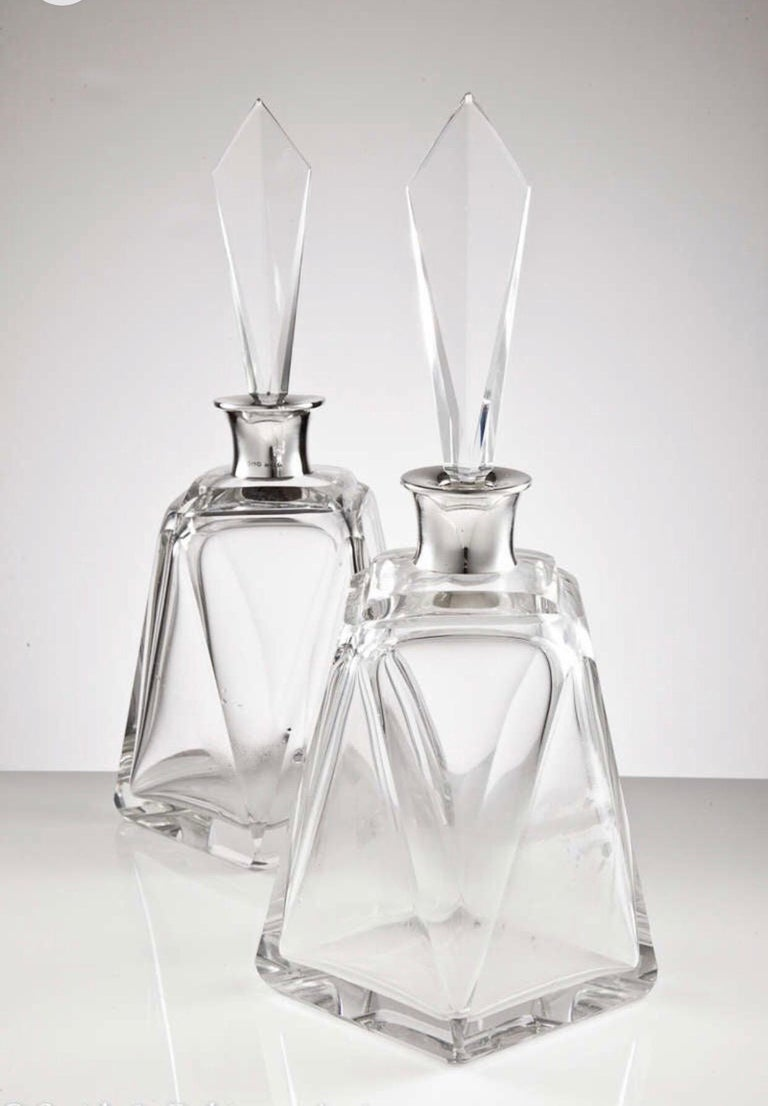 British Pair of Large Art Deco Decanters, London, 1920 For Sale