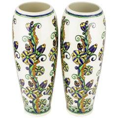 Pair of Large Art Deco Keramis Boch Floral Vases