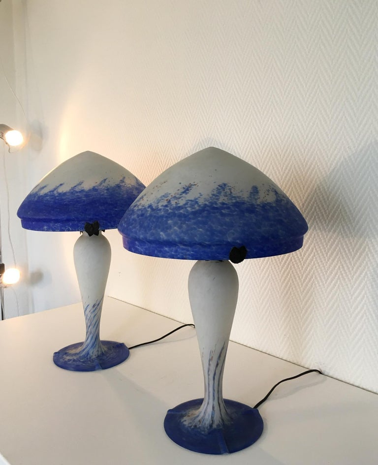 French Pair of Large Art Deco Table Lamps by Art de France For Sale