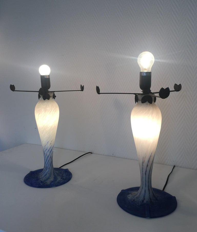 Art Glass Pair of Large Art Deco Table Lamps by Art de France For Sale