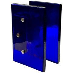 Pair of Large Art Glass Door Handles