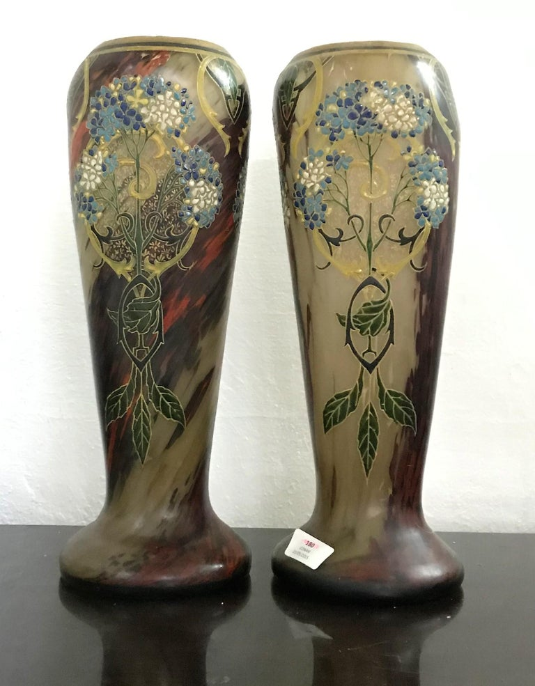 French Pair of Large Art Nouveau Blown Glass and Enamel Vases by Legras, France For Sale