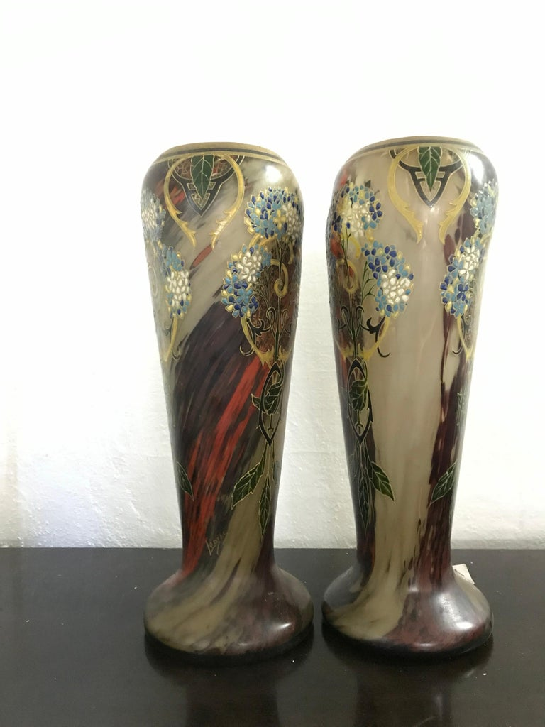Pair of Large Art Nouveau Blown Glass and Enamel Vases by Legras, France In Good Condition For Sale In Merida, Yucatan