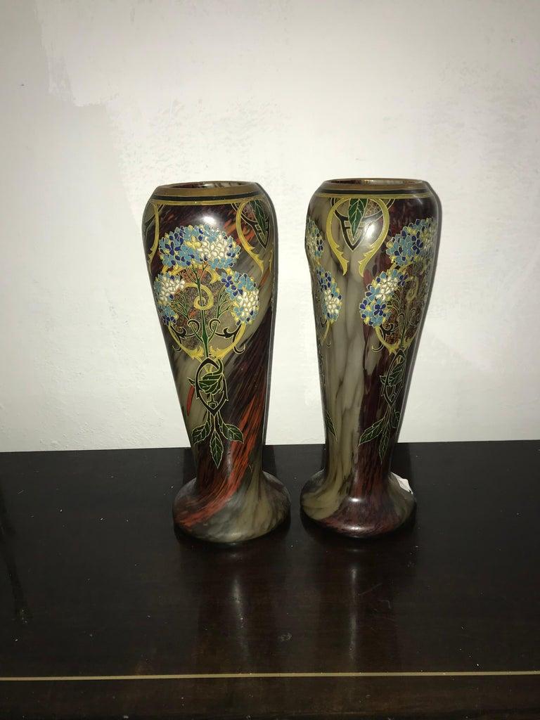 Pair of Large Art Nouveau Blown Glass and Enamel Vases by Legras, France For Sale 1
