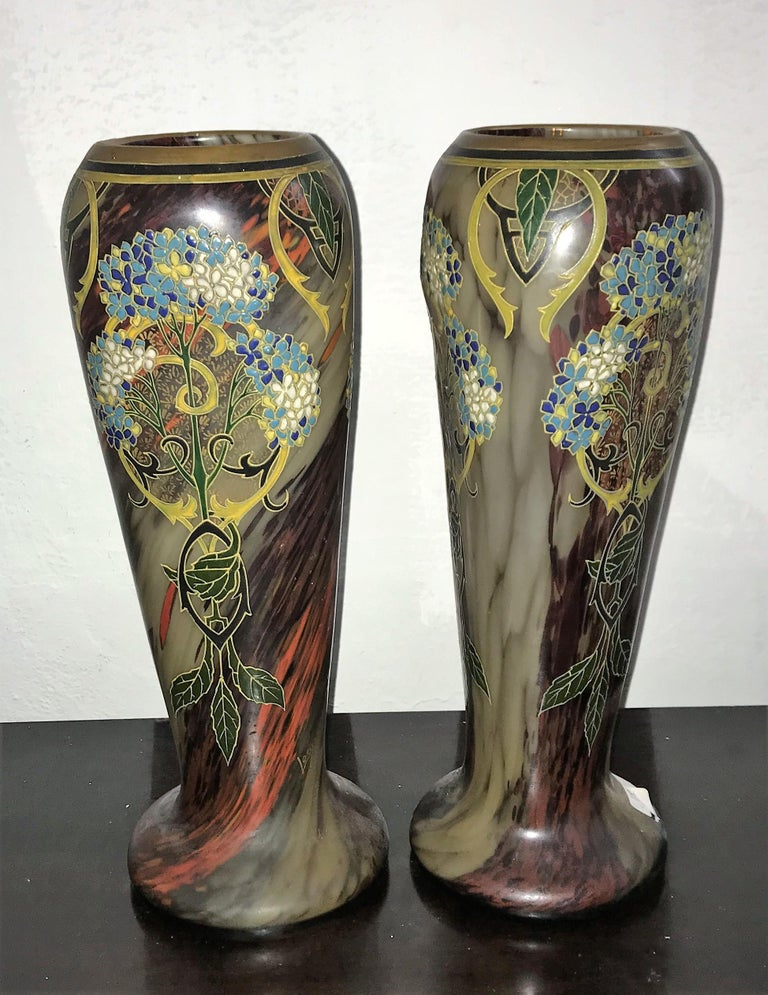 Pair of Large Art Nouveau Blown Glass and Enamel Vases by Legras, France For Sale 2
