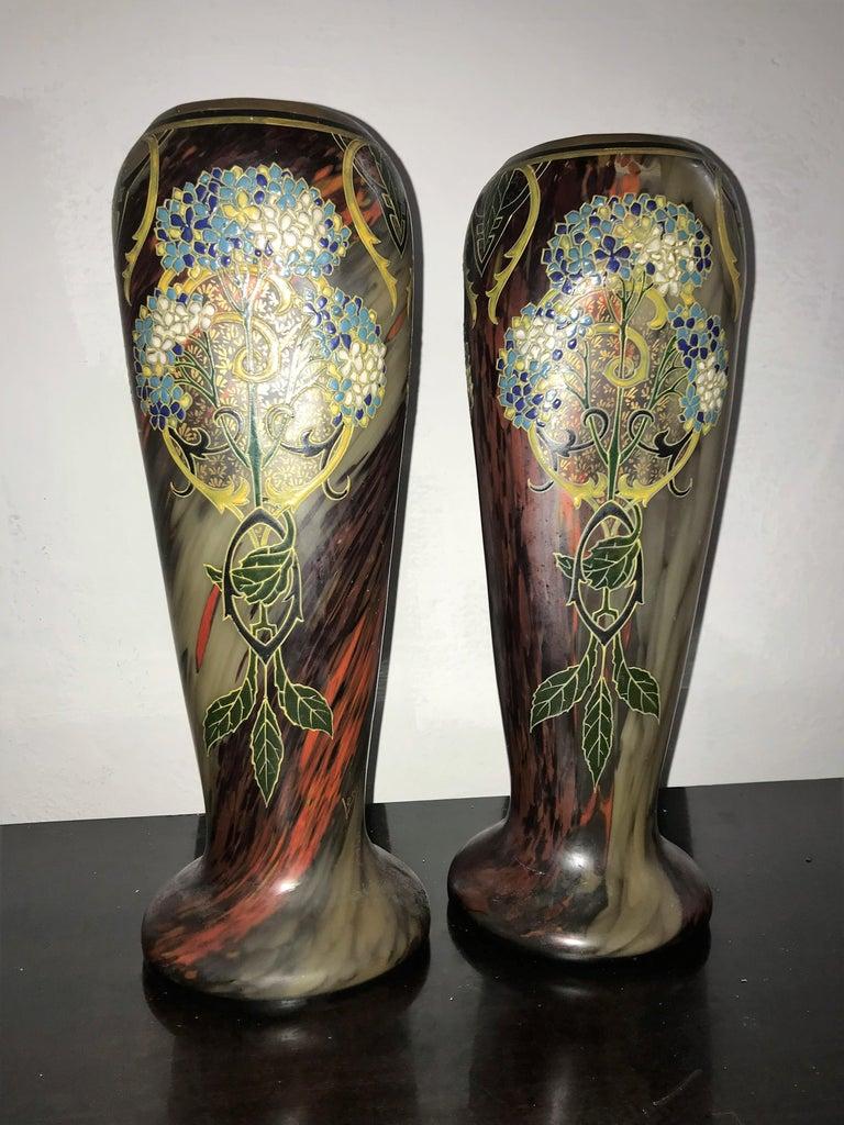 Pair of Large Art Nouveau Blown Glass and Enamel Vases by Legras, France For Sale 3