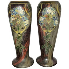 Pair of Large Art Nouveau Blown Glass and Enamel Vases by Legras, France