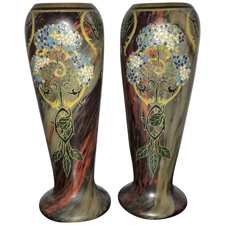 Pair of Large Art Nouveau Blown Glass and Enamel Vases by Legras, France For Sale