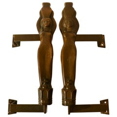 Pair of Large Art Nouveau Bronze Push and Pull Door Handles with Water Nymphes