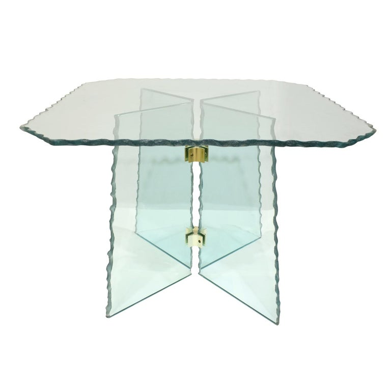 Pair of large artisan end tables in scalloped edge green glass with brass accents, Italian 1970s. These are handmade and very beautiful.