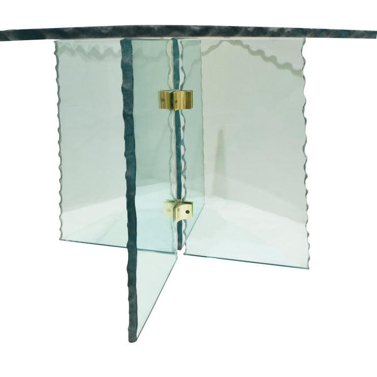 Mid-Century Modern Pair of Large Artisan Italian Glass End Tables, 1970s For Sale