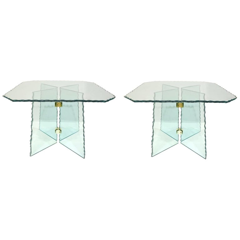 Pair of Large Artisan Italian Glass End Tables, 1970s For Sale
