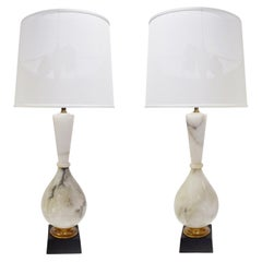 Pair of Large Artisan Marble Table Lamps, 1950s