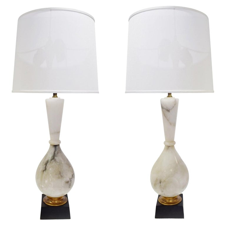 Pair of Large Artisan Marble Table Lamps, 1950s For Sale