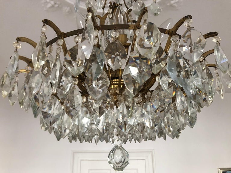 Pair of Large Austrian Crystal and Brass Chandeliers, circa 1960s For Sale 5