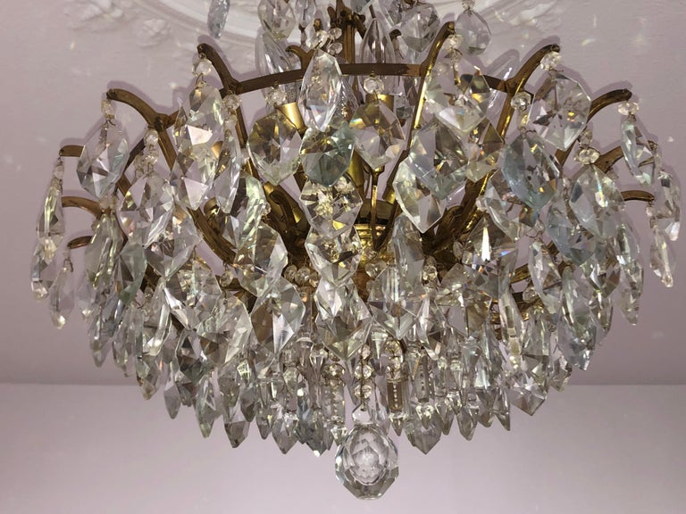 Pair of Large Austrian Crystal and Brass Chandeliers, circa 1960s For Sale 6