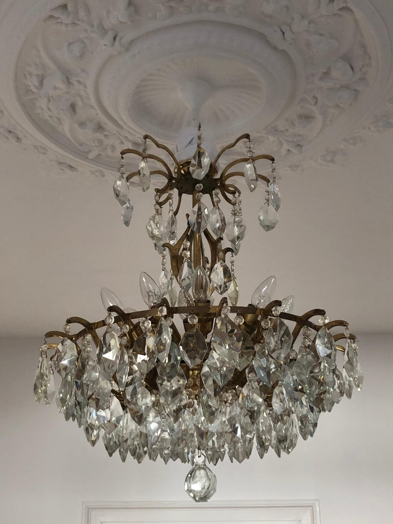 Pair of Large Austrian Crystal and Brass Chandeliers, circa 1960s For Sale 7