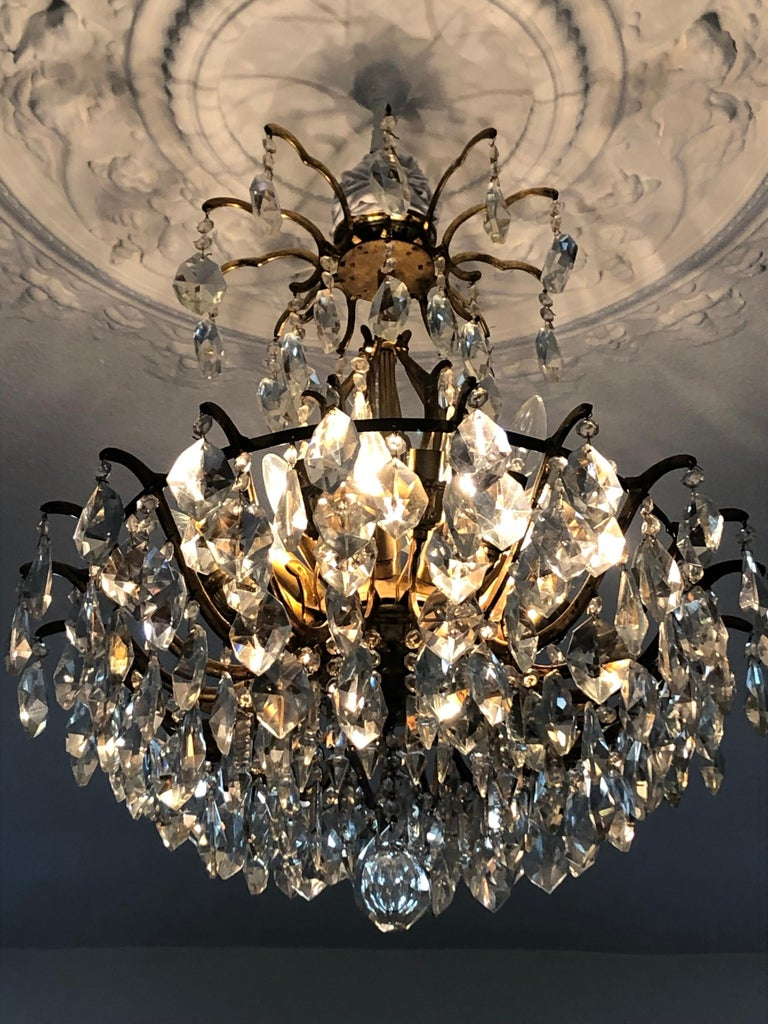 Pair of Large Austrian Crystal and Brass Chandeliers, circa 1960s For Sale 4
