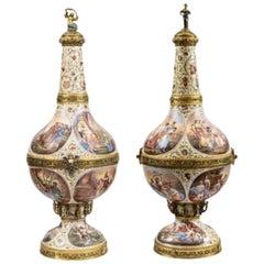 Pair of Large Austrian Silver-Gilt, Enamel and Gem-Set Pilgrim Flasks