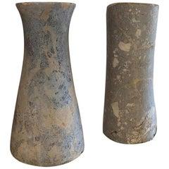 Pair of Large Bactrian Marble Column Idols