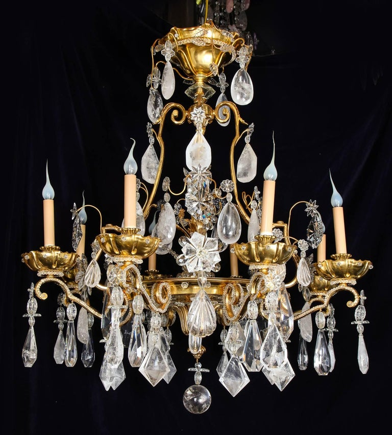 Hand-Crafted Pair of Large Baguès French Louis XVI Style Bronze and Rock Crystal Chandeliers For Sale