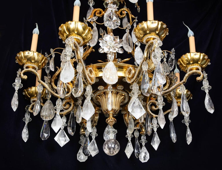 Pair of Large Baguès French Louis XVI Style Bronze and Rock Crystal Chandeliers In Good Condition For Sale In New York, NY