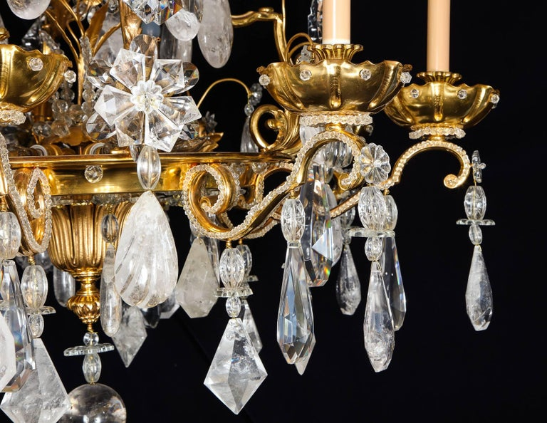 20th Century Pair of Large Baguès French Louis XVI Style Bronze and Rock Crystal Chandeliers For Sale