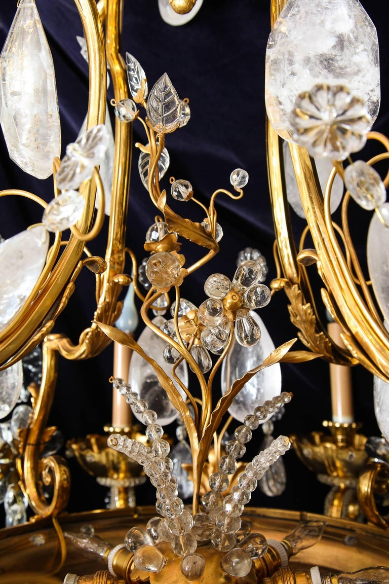 Pair of Large Baguès French Louis XVI Style Bronze and Rock Crystal Chandeliers For Sale 2
