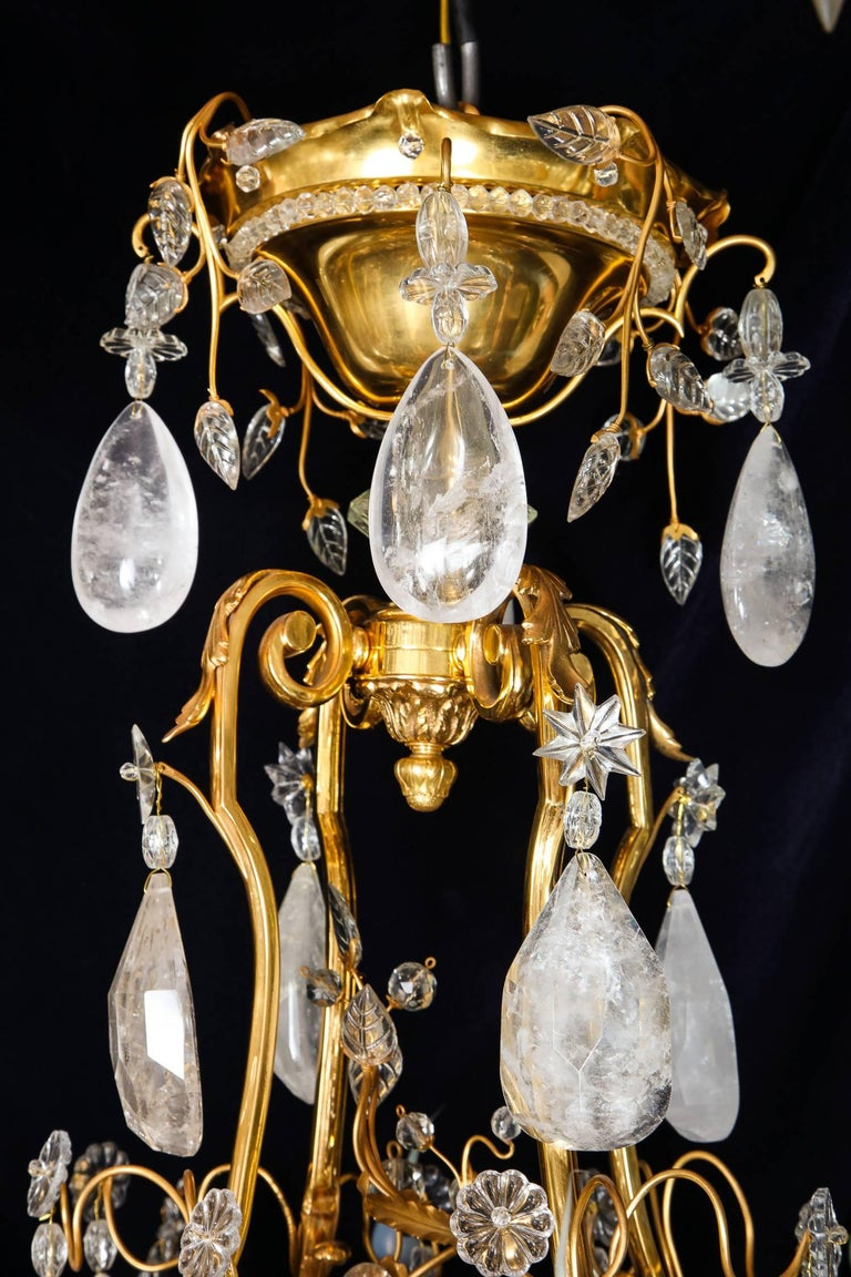 Pair of Large Baguès French Louis XVI Style Bronze and Rock Crystal Chandeliers For Sale 3