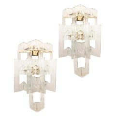 Pair of Large Barovier and Toso Glass Sconces, Italy, 1960s