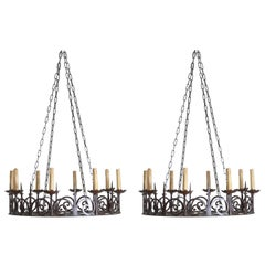 Pair of Large Belgian or French Wrought Iron 8-Light Chandeliers, circa 1900