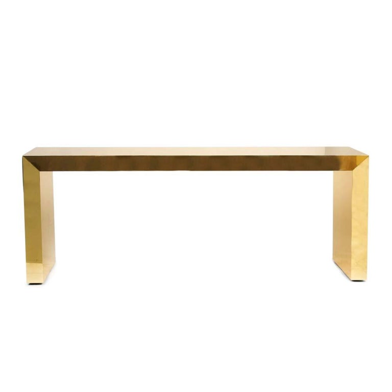 Modern Pair of Large Bespoke Gold Color Brass Console Tables by Railis Kotlevs Iceland For Sale