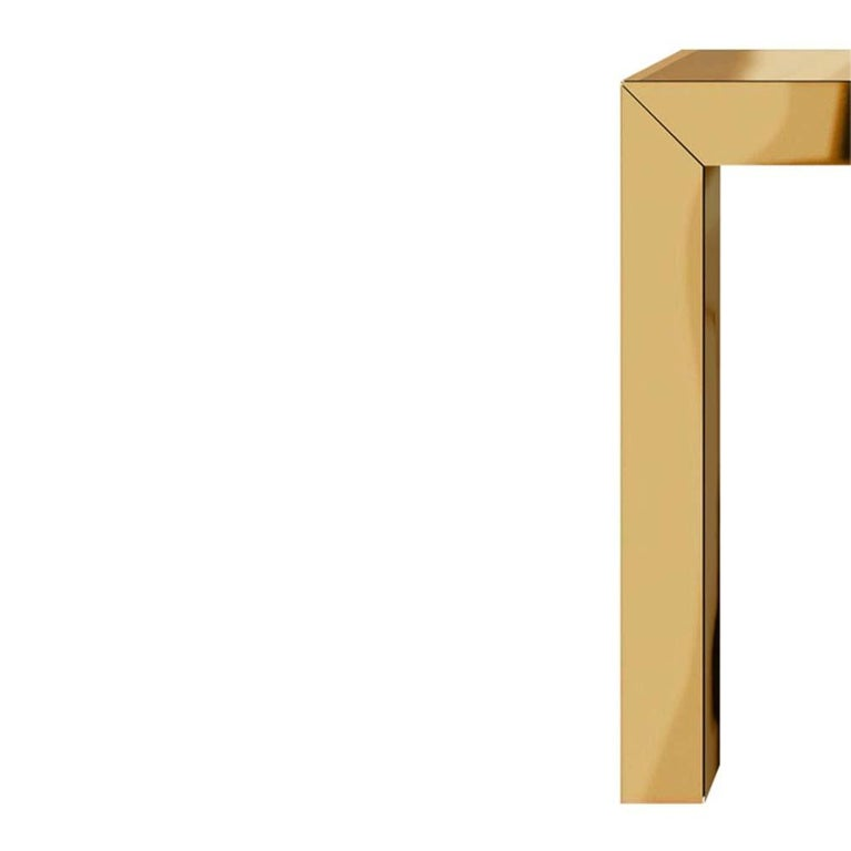Icelandic Pair of Large Bespoke Gold Color Brass Console Tables by Railis Kotlevs Iceland For Sale
