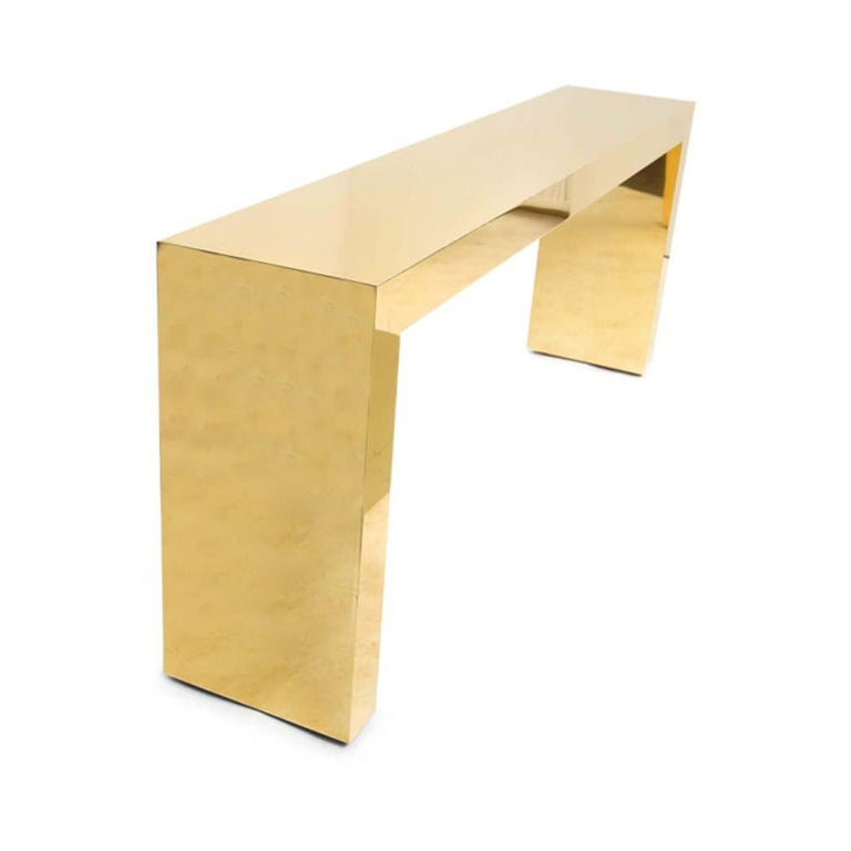 Pair of Large Bespoke Gold Color Brass Console Tables by Railis Kotlevs Iceland In Good Condition For Sale In London, GB