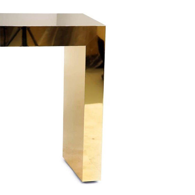 Contemporary Pair of Large Bespoke Gold Color Brass Console Tables by Railis Kotlevs Iceland For Sale