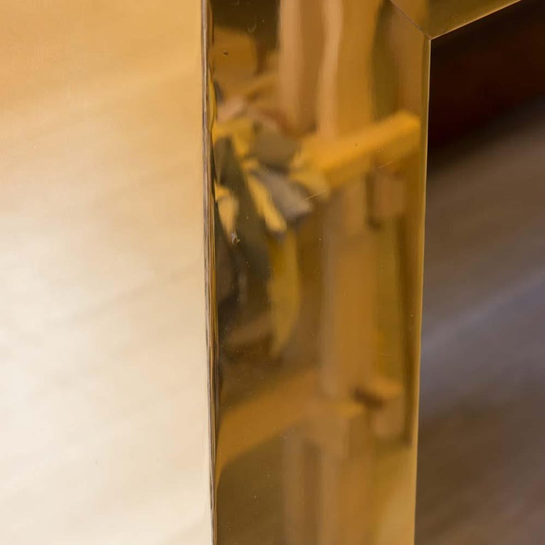 Pair of Large Bespoke Gold Color Brass Console Tables by Railis Kotlevs Iceland For Sale 3