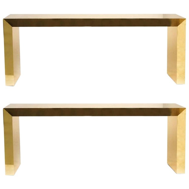 Pair of Large Bespoke Gold Color Brass Console Tables by Railis Kotlevs Iceland For Sale