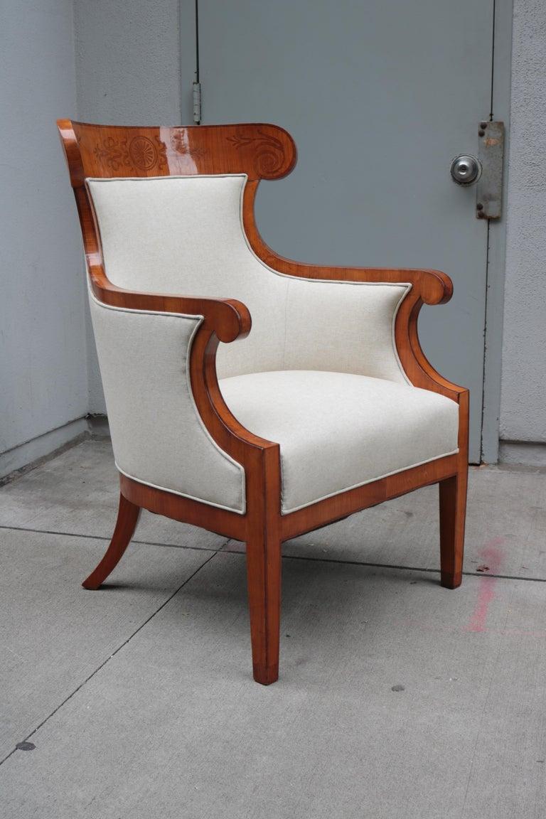 Austrian Pair of Large Biedermeier Armchairs For Sale