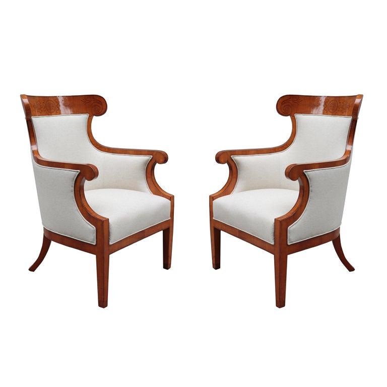 Pair of Large Biedermeier Armchairs For Sale