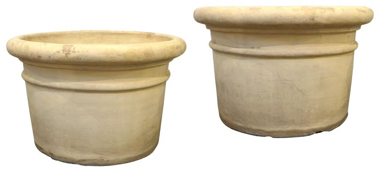 Italian Pair of Large Bisque Terracotta Planters For Sale