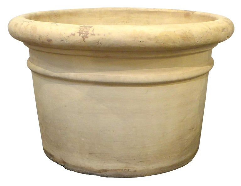 Pair of Large Bisque Terracotta Planters In Good Condition For Sale In Los Angeles, CA