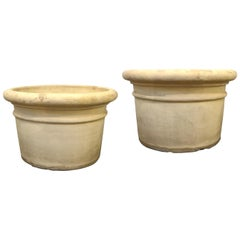 Pair of Large Bisque Terracotta Planters