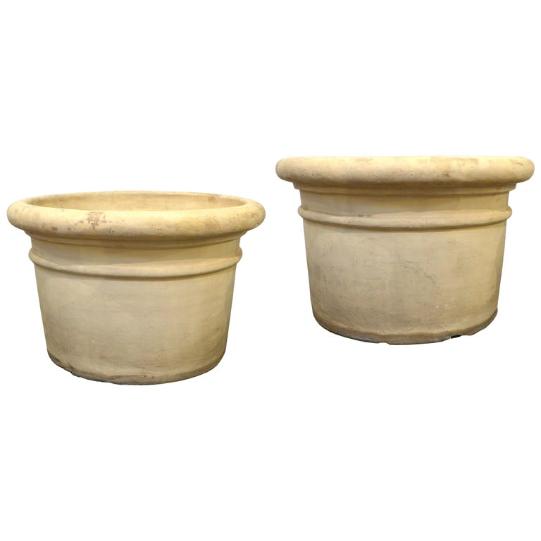 Pair of Large Bisque Terracotta Planters For Sale