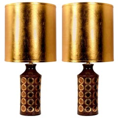 Pair of Large Bitossi Lamps for Bergboms, with Custom Made Shades by Rene Houben